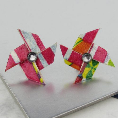 Pink carnival pinwheel earrings, with rhinestone. Colourful and bright studs are comfortable and easy to wear. From the origami boutique, london.