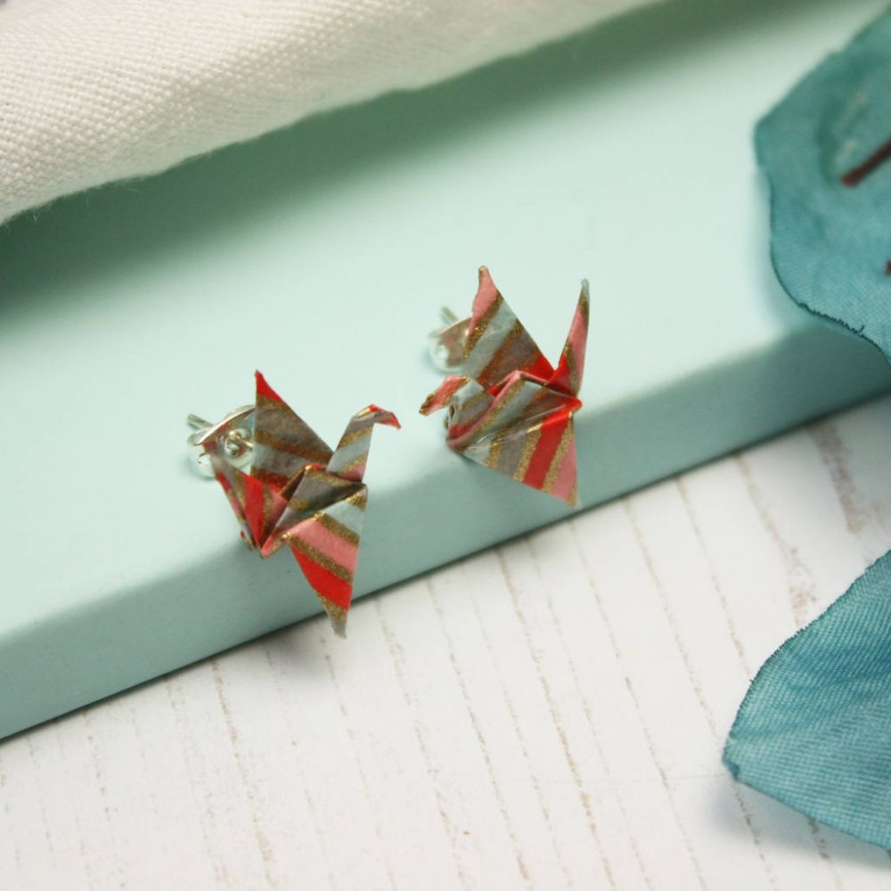Paper pink and glitter origami crane earings, by the origami boutique.