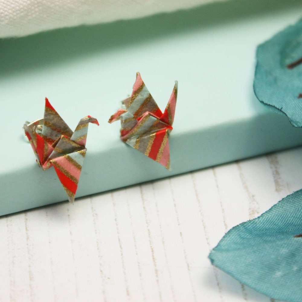 Water resistant glitter origami crane earings, by the origami boutique.