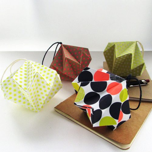 Polka dot origami ornament, hand folded by the origami boutique, london.