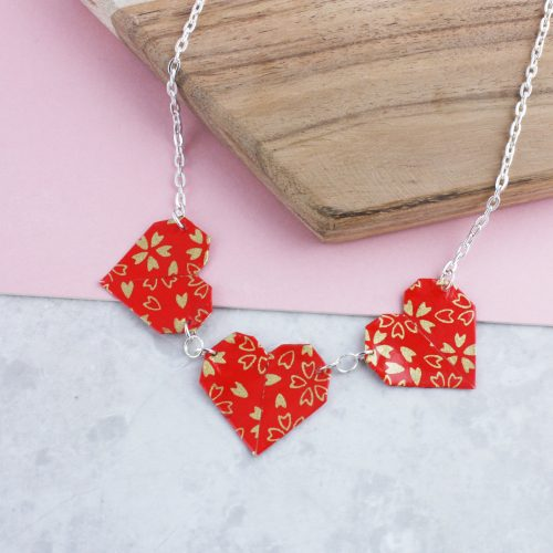 Origami heart necklace, water resistant, handmade by the origami boutique.