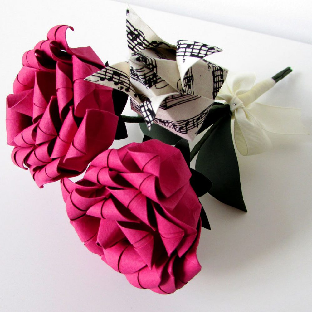 Rose and tulip origami bouquet. Birthday bouquet by the origami boutique.