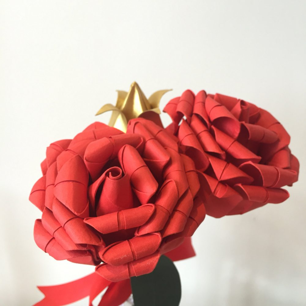 Rose and tulip paper birthday bouquet.