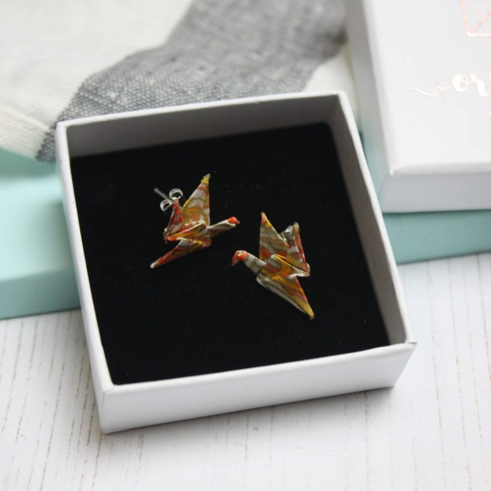Salmon pink crane earrings, in gift box, by the origami boutique.