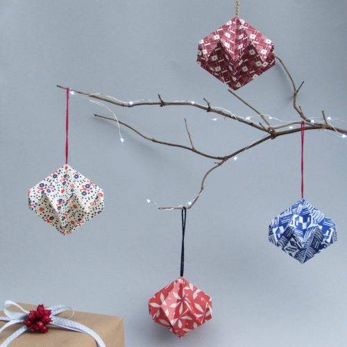 Scandinavian inspired pattern hanging ornaments.
