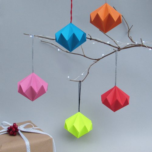 Solid bright colour origami ornaments. Colourful hanging decorations by the origami boutique.