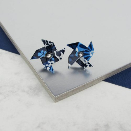 Blue patchwork, pinwheeel earrings, handmade by the origami boutique, London.