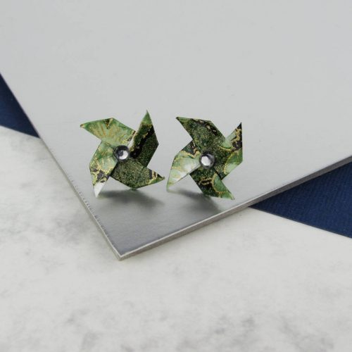 Green pinwheel stud earrings, with rhinestone. Handmade by the origami boutique.