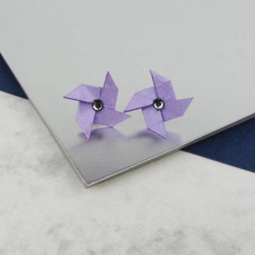 lilac pinwheel origami earrings, handmade by the origami boutique.