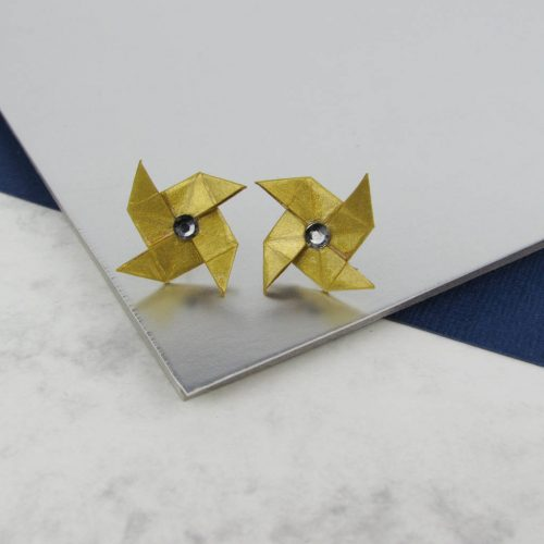 Metallic gold paper earrings, with rhinestone centre, by the origami boutique, London.
