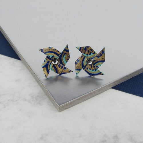 Peacock patterened pinwheel earrings, with rhinestone center. Lighweight and dainty, these stud earrings are handmade by the origami boutique, london.