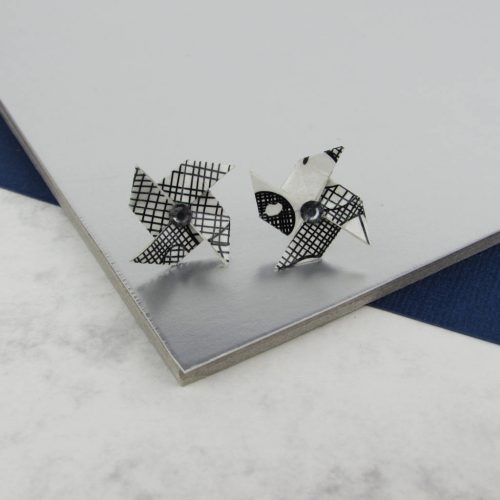 Origami earrings with rhinestone, in scraffito pattern.