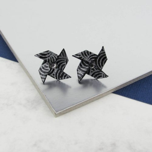 Black and silver origami pinwheel earrings, with rhinestones. Hand folded by The Origami Boutique, London.