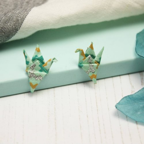 Turquoise and metallic zig zag crane pattern earrings, by the origami boutique, London.
