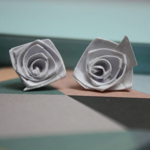 White origami rose studs, folded from water resistant paper, folded by the origami boutique.