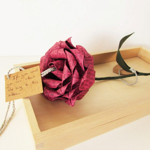 Raspberry proposal origami rose, with ring attachment, by the Origami Boutique