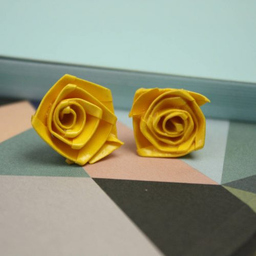 Yellow rose stud earrings. Water resistant origami, hand folded in london.