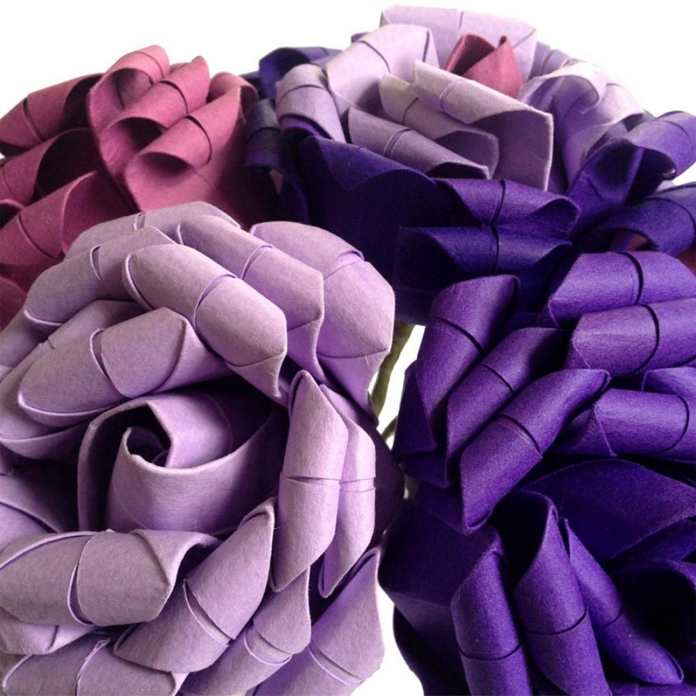 detail of lilac purple and pink roses paper bouquet