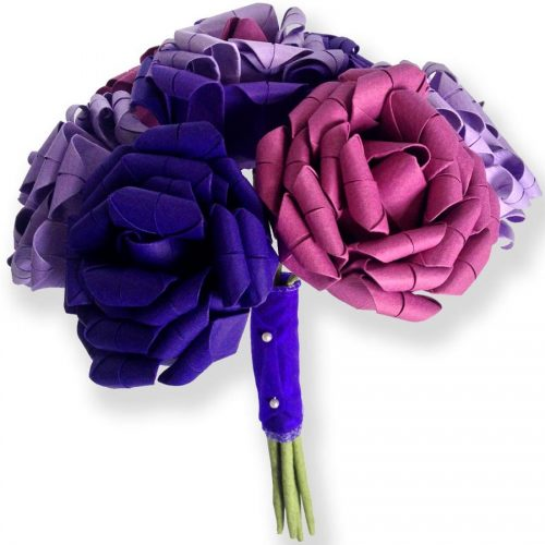 ultra violet raspberry and lilac paper roses The Origami Boutique bouquet