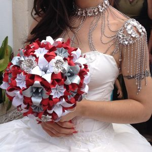 Silver, red, and white origami wedding bouquet.