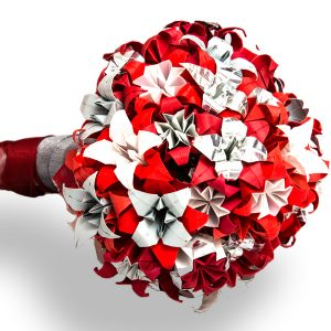 Red, silver and white, wedding bouquet. Handmade by the origami boutique.