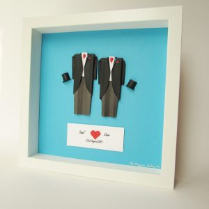Pride Groom and Groom outfit recreation for first wedding anniversary frame