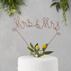 wire mrs & mrs cake topper letter loft