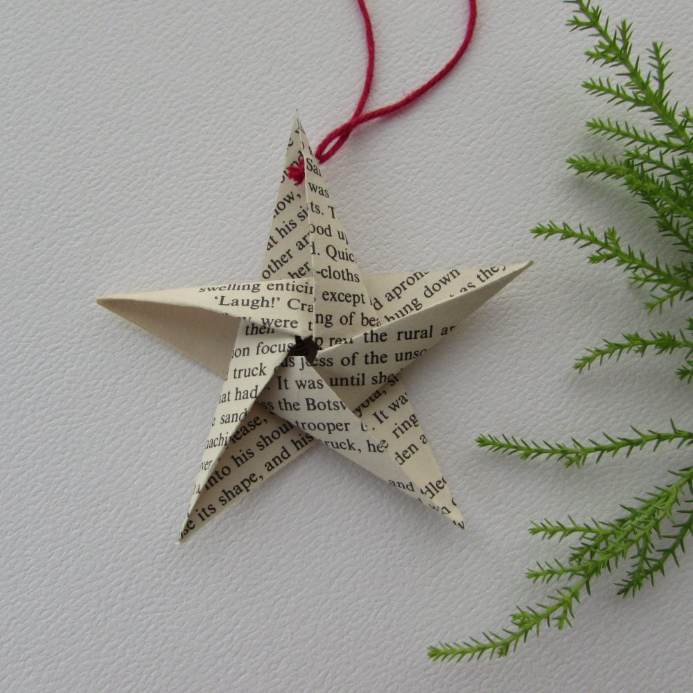 5 point star ornament from recycled book